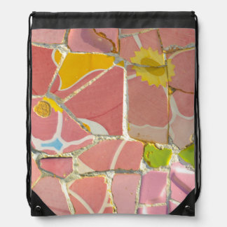 Pink Parc Guell Tiles in Barcelona Spain Drawstring Bag