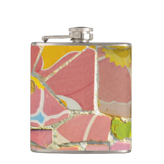 Pink Parc Guell Tiles in Barcelona Spain Hip Flask