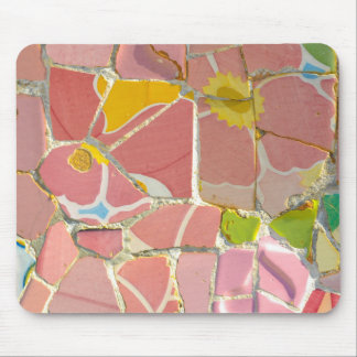 Pink Parc Guell Tiles in Barcelona Spain Mouse Pad