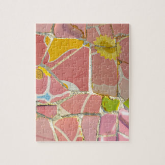 Pink Parc Guell Tiles in Barcelona Spain Puzzle