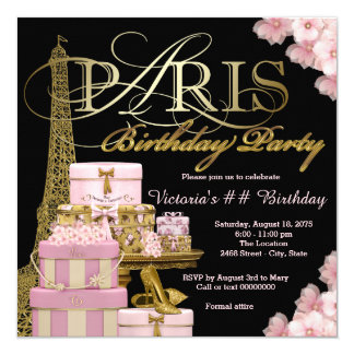 Pink Paris Birthday Party 13 Cm X 13 Cm Square Invitation Card