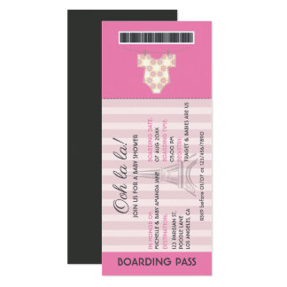 Pink Paris Boarding Pass Baby Shower invitation
