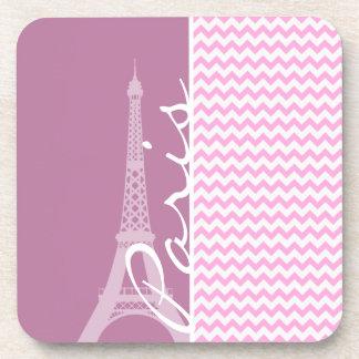 Pink Paris Chevron Drink Coaster