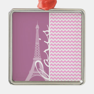 Pink Paris Chevron Ornaments