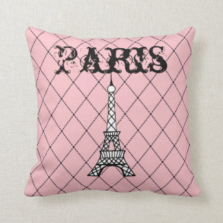 Pink Paris Eiffel Tower Bedroom Throw Pillow