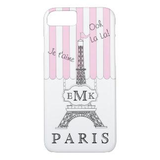 Pink Paris Eiffel Tower Boutique Monogram iPhone 8/7 Case