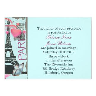 pink paris eiffel tower destination wedding 13 cm x 18 cm invitation card