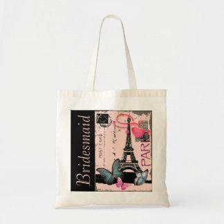 pink paris eiffel tower destination wedding budget tote bag