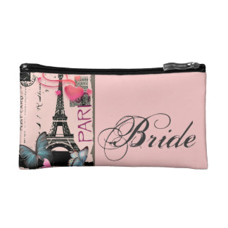 pink paris eiffel tower destination wedding makeup bag