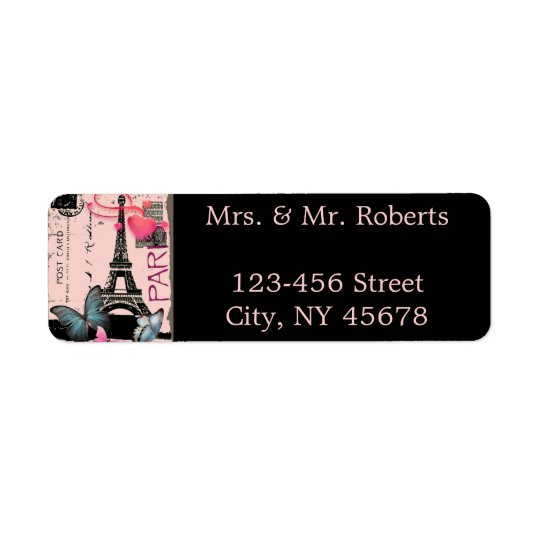 pink paris eiffel tower destination wedding return address label