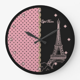 Pink Paris Eiffel Tower Round Wall Clock