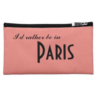 Pink Paris French I'd rather be in Paris. Makeup Bag