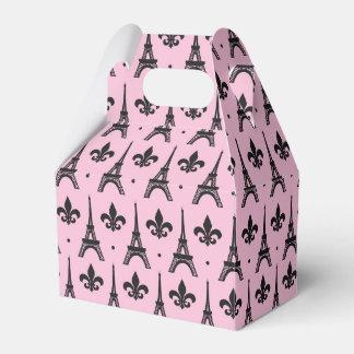Pink Paris pattern party Eiffel tower favor box