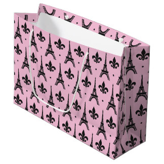 Pink Paris pattern party Eiffel tower gift bag