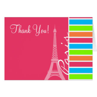 Pink Paris; Retro Neon Rainbow Greeting Card