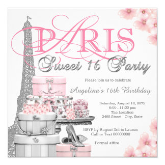 Pink Paris Sweet 16 Party 13 Cm X 13 Cm Square Invitation Card