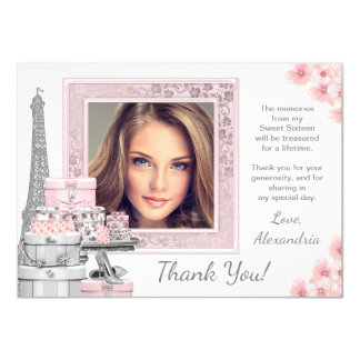 Pink Paris Sweet 16 Thank You Cards 11 Cm X 16 Cm Invitation Card