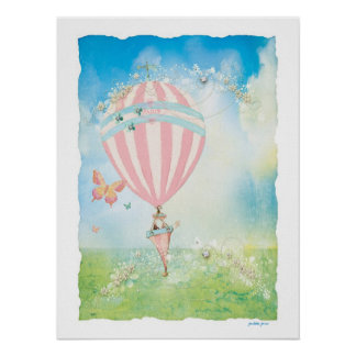 Pink Paris Watercolor D'Aire Balloon Poster