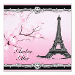 Pink Parisian Eiffel Tower Wedding Invitations 13 Cm X 13 Cm Square Invitation Card
