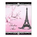 Pink Parisian Eiffel Tower Wedding Invitations