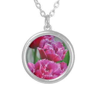 Pink parrot tulips silver plated necklace