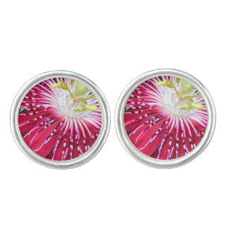 Pink Passion Flower Cufflinks Silver Plated