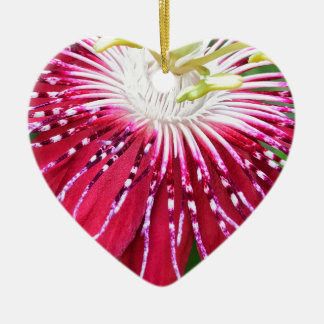 Pink Passionflower Dble-sided Heart Ornanent Ceramic Ornament