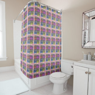 Pink Pastel Abstract Squares Shower Curtain