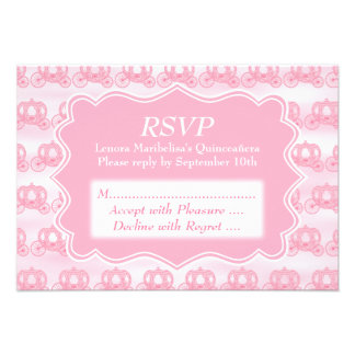 Pink Pastel Carriages Quinceanera Personalized Invites