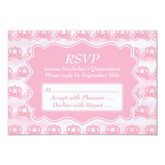 """Pink Pastel Carriages Quinceanera 3.5"""" X 5"""" Invitation Card"""