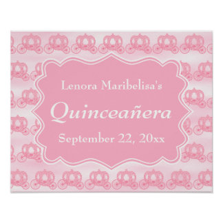 Pink Pastel Carriages Quinceanera Poster