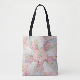 Pink Pastel Fractal Swirl Monogram Tote Bag