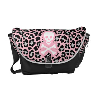 Pink Pastel Goth Leopard Print Jolly Roger Pirate Messenger Bags