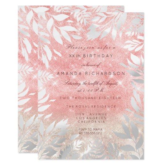 Pink Pastel Ivory Glitter White Floral Frame Card