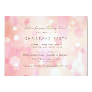 Pink Pastel Lights Christmas Party Invitation