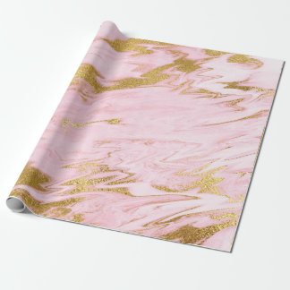 Pink Pastel Marble Shiny Golden Brushes Wrapping Paper