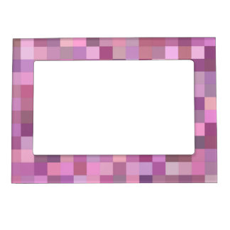 Pink pastel mosaic photo frame magnets