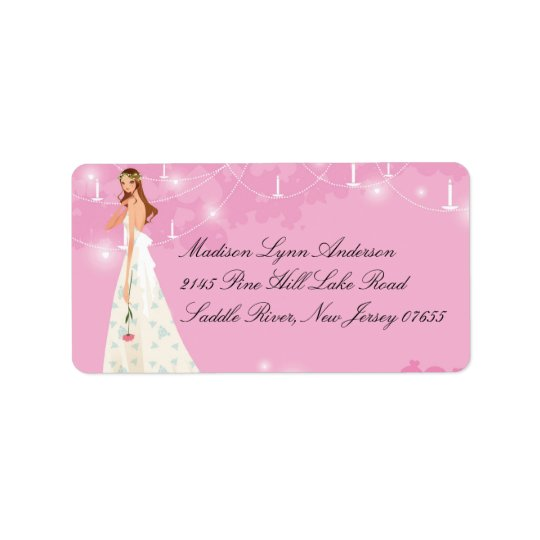 Pink Pastel Romantic Bride Return Address Label