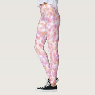 Pink Pastel Rose Pattern Leggings