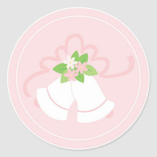 Pink pastel wedding bells classic round sticker