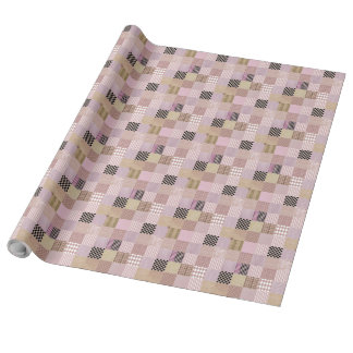 """Pink patchwork Linen Wrapping Paper, 30"""" x 30'"""