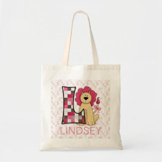 Pink Patchwork Lion for Monogram L with Name Tote Bag