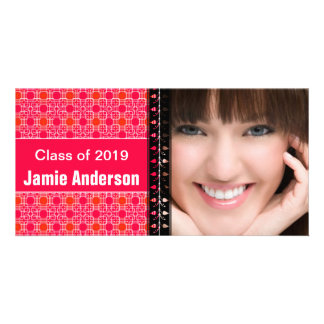 Pink Pattern Modern Graduation Photo Customised Photo Card