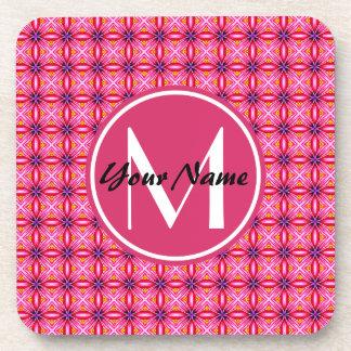 Pink Pattern Monogrammed Hard Plastic coasters