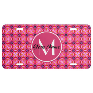 Pink Pattern Monogrammed License Plate - Aluminum