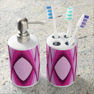 Pink Pattern Soap Dispenser And Toothbrush Holder