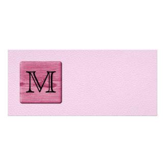 Pink Patterned Image, with Custom Monogram Letter Rack Card Design