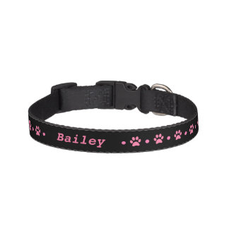 Pink Paw Print Polka Dot Dog Collar
