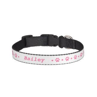 Pink Paw Print Polka Dot Dog Collar