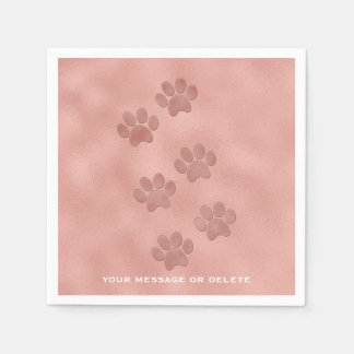 Pink Paw Prints for Animal Lovers Rose Gold Disposable Serviette